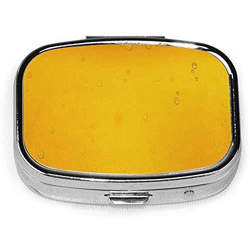 Gele Bier Bubble Aangepaste Mode Vierkante Pil Doos Tablet Houder Pocket Handtas Organizer Case Decoratie Doos