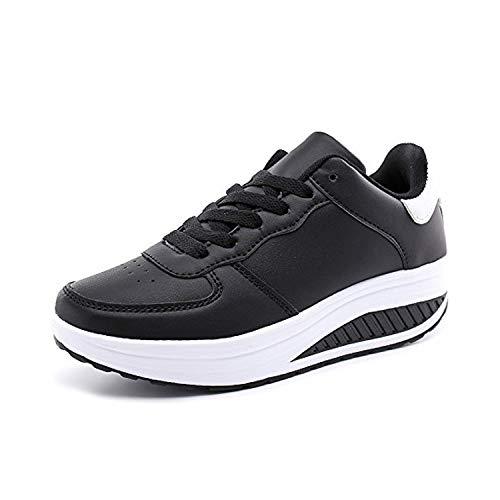 Zapatillas Deportivas Mujer Calzado Deportivo para Adelgazar y Elásticas Zapatos de Plataforma de Cuña de Fitness Zapatos Casuales Zapatillas de Andar Antideslizantes Portátiles Blanco Negro, 42 EU