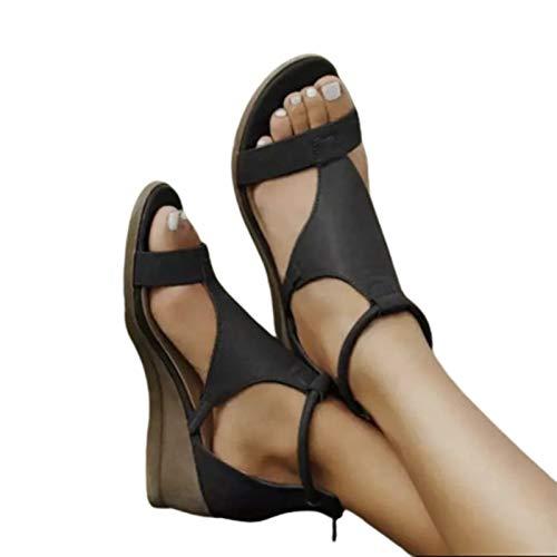 Damen Sandalen, Frauen Sommer New Simple Casual Griechischen Stil High Wedge Heel Knöchel Reißverschluss Sandalen Black 39