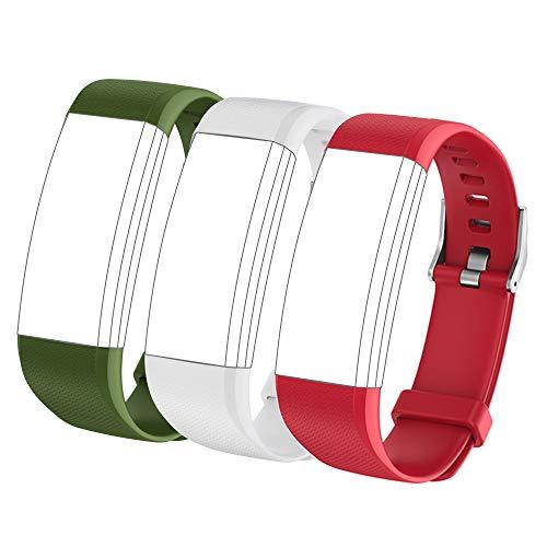 showyoo Correa de Repuesto para Smartwatch Deportivo, Transpirable, 3 Paquetes Rojo Gris Verde Militar