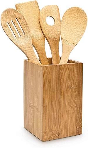 Relaxdays 10014471 - Set de 4 cucharas de cocina y soporte, bambú