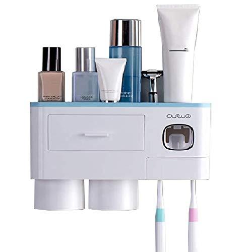 ConBlomi Porta Spazzolino e Dispenser Automatico di Dentifricio, Portaspazzolino da Parete Bagno Adesivo con Cassetto Organizer, Tazze Magnetiche (2 Tazze, Blu) (2 Tazze)