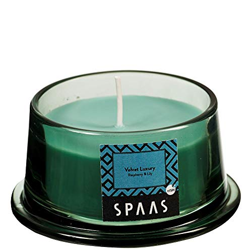 Spaas - Vela perfumada en Cristal bajo (Cera de parafina, 92 x 48 mm), Color Verde Esmeralda