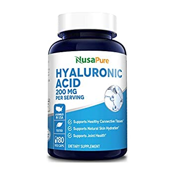 Hyaluronic Acid 200mg 180 Veggie Capsules  Non-GMO & Gluten Free  - Supports Healthy Joints* - Promotes Healthy Skin*