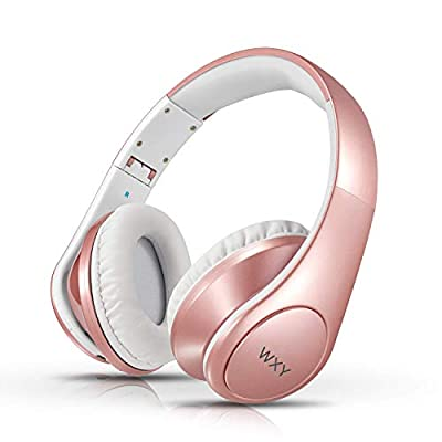 Wireless Headphones, WXY Hi-Fi Stereo Bluetooth headphones Over Ear with Built-in Mic, 25 Hrs Playtime, Soft Memory Protein Earmuffs and Foldable for Travel Work PC TV Cellphone and Kids - Rose Gold by WYFFO