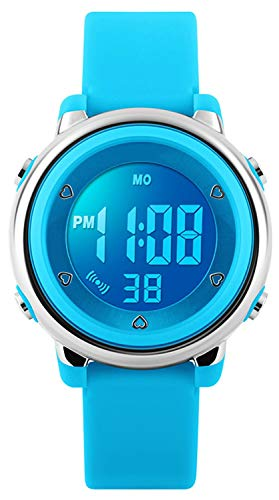 Digital Relojes para niños niñas, niños 5 ATM resistente al agua reloj deportivo con alarma/Cronógrafo/7 LED muestra para deportes al aire libre muñeca relojes para niños azul