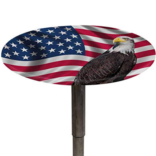 Outdoor Tablecloth Round Eagle Elastic Table Covers Patriotic Symbols of The Land with an American Flag with a Bald Eagle Nationalism Tablecloth for Outdoor Picnics Multicolor Diameter 48'