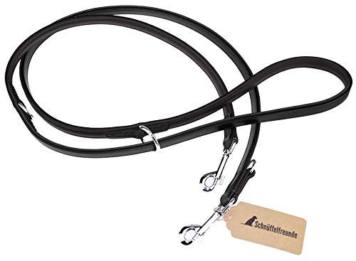 Schnüffelfreunde Hundeleine aus Leder - Trainingsleine - Lederleine für den Hund - Leine 3-Fach verstellbar, für alle Hunde (230cm, Schwarz)