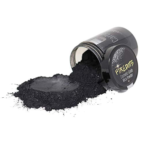 FIREDOTS Carbon Black Mica Pearl Pigment Powder for Epoxy Resin, Soap Making, and More - 100g of Cosmetic Grade Black Mica Powder - Epoxy Resin Color Pigment