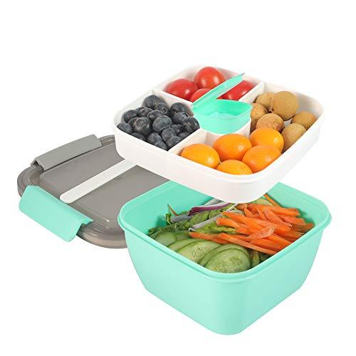 shopwithgreen Lunchbox, Bento Box Lunch-Behälter Salatbehälter Bento für Mittagessen,1300 ml, 3 Fächer mit 1 Gabel, auslaufsicher, mikrowellenfest Dunkel (Grün)