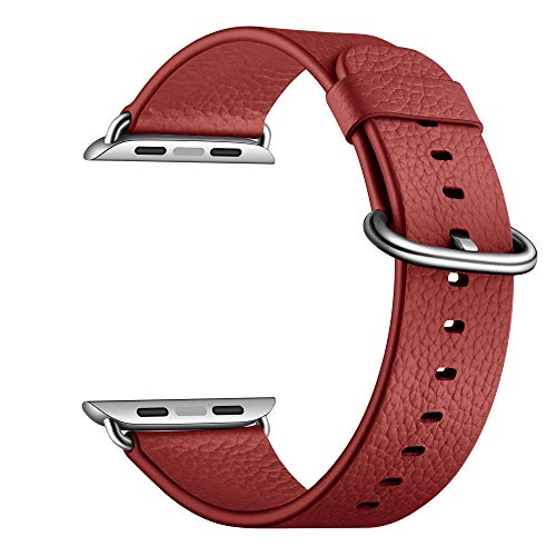 YoChYi Compatible con Apple Watch Series 6 SE 5 4 3 2 1 38mm 40mm 42mm 44mm Correa, Banda de Repuesto de piel con Estampado Lychee (Red, 4244mm)