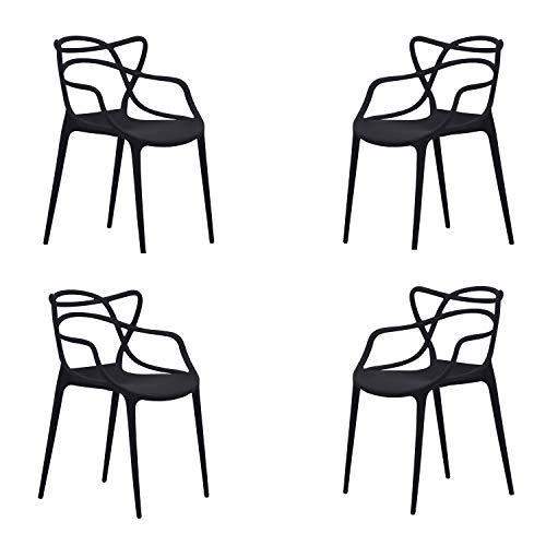 Butterfly, Pack de 4 sillas, Salón, Comedor, Escritorio, Cocina o Terraza, Acabado en Negro, Medidas: 55 cm (Ancho) x 55 cm (Fondo) x 83 cm (Alto)