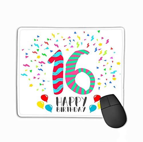 Rechteck Rechteck rutschfest Gummi Mousepad Alles Gute zum Geburtstag Jahr Party Einladungskarte Nummer Gruß Sechzehn Fun Art Style tti Jubiläum Herzlichen Glückwunsch