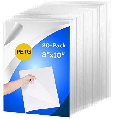 CalPalmy 20 unidades de 7.9 x 9.8in de lámina PETG y paneles de plexiglás de 0,040 pulgadas de espesor; uso para proyectos de manualidades, marcos de fotos, corte de Cricut y más; película protectora segura para adultos y niños