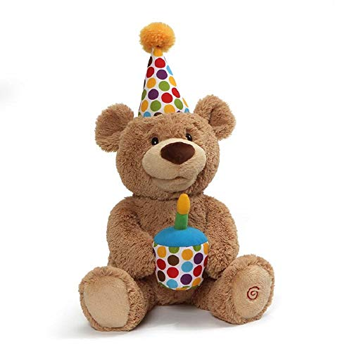 GUND Happy Birthday Animated Bear Singing Light Up Plush Stuffed Animal, 10""