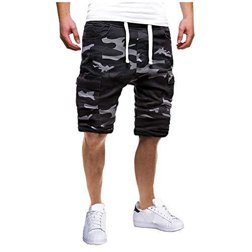 Karinao Herren Sport Joggen und Training Shorts Fashion Camouflage Freizeit Fitness Kurze Hose Cargo Shorts Bermuda(L,Camouflage)