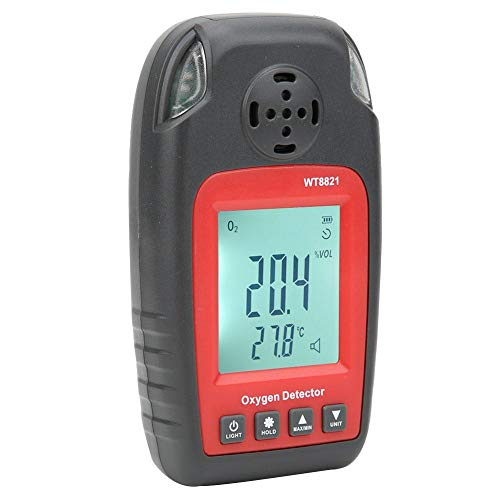 Detector de oxígeno, WT8821 Medidor de prueba de detector de alarma de oxígeno digital portátil de alta precisión para pruebas domésticas y de trabajo