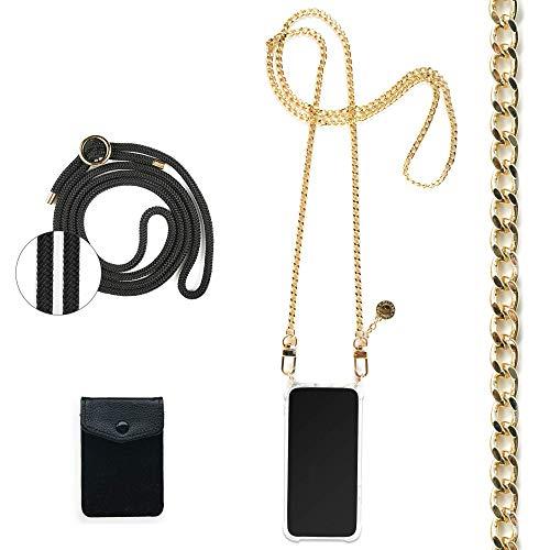 Jalouza Handykette, Kordel & Kartenfach Bundle kompatibel mit iPhone 12 & 12 Pro - Gliederkette in Gold und Kordel in Farbe Schwarz-Gold Plus Handyhülle zum umhängen