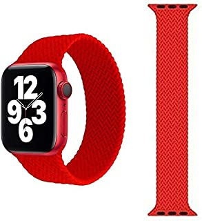 Braided Solo Silicone Loop Strap Band for Apple watch 38/40 medium - Red