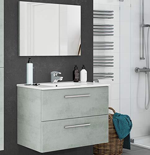 MarinelliGroup Mobile Bagno 80 cm sospeso con lavabo in Ceramica e Specchio con cassetti Cemento. Dafne