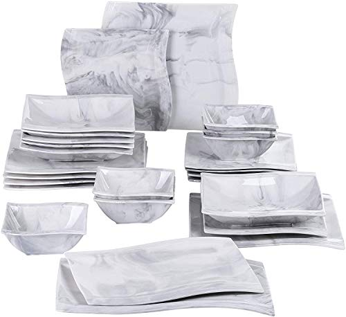 MALACASA Marble Grey Dinnerware Set, 26-Piece Porcelain Square Dinner Sets with 6 Bowls 6 Dinner Plates 6 Dessert Plates 6 Soup Plates and 2 Rectangular Plates, Service for 6, Series Flora