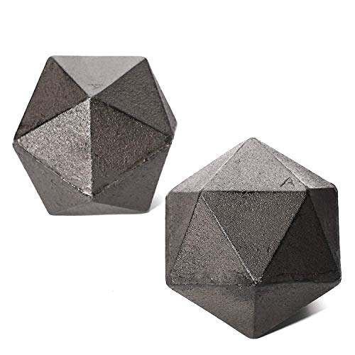 Ambipolar Geometric Shelf Décor Ball Shape Iron Cast Decorative Bookend for Lightweight Books Or Organizer 2 Pack Antique Black