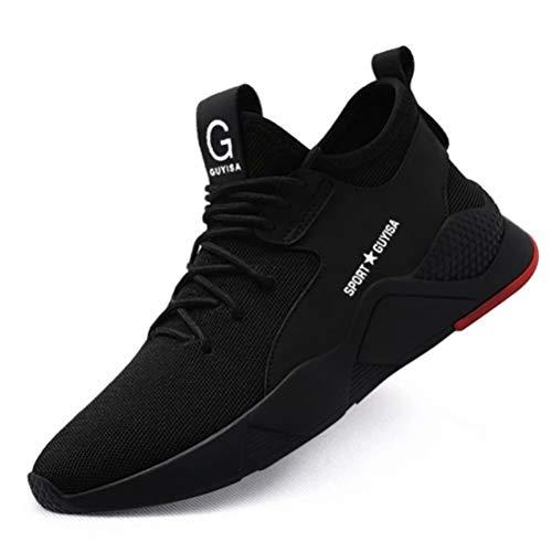 [KUDOON] 安全靴 スニーカー 作業靴 メンズ レディース メッシュ 鋼先芯 ミッドソール 超軽量 防滑 通気性 ソール つま先保護 防刺 耐摩耗 衝撃吸収 クッション性 工事現場 作業 通勤 アウトドア 防護靴 男女兼用 ブラック 37