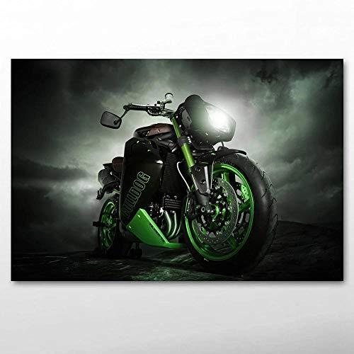agwKE2 Motorrad Vliner Triumph Speed Tripple Bulldog Sportbike Tuning Bike Leinwand Malerei Poster und Drucke Wandkunst für Wohnkultur / 60x90cm (kein Rahmen)