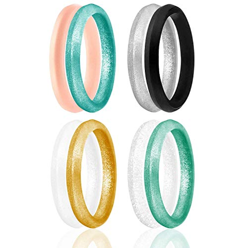 ROQ Silicone Wedding Ring for Women, Set of 8 Thin Stackable Silicone Rubber...