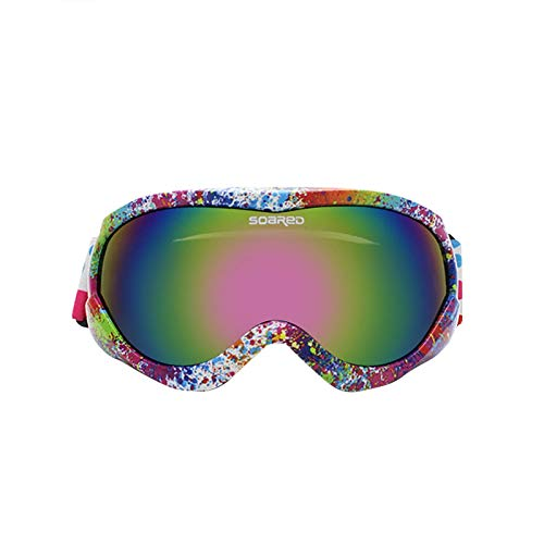 Allegorly Gafas De Esquí para Niños, Gafas De Snowboard De Doble Lente OTG Uv400 Gafas De Esquí Antivaho para Esquí Y MontañIsmo