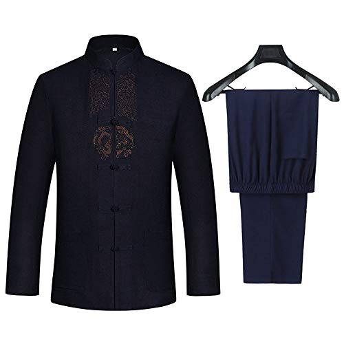 Tang Suit Men Hanfu Chinese Traditional Clothes Kung Fu Shirt Uniform Long Sleeved Coat Tops and Pants (Navy Blue, US L (Asia Size XXL))