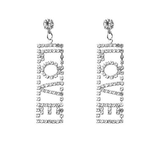 Fliyeong, orecchini lunghi da donna, eleganti, con lettera d'amore, regalo per anniversario, in argento, pratici e popolari