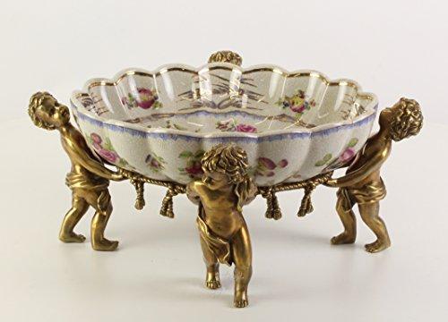 Clever-Deko luxoriöse Schale Obstschale Keramik/Bronze Engel Putten Jugendstil Gründerzeit Tafelaufsatz oval