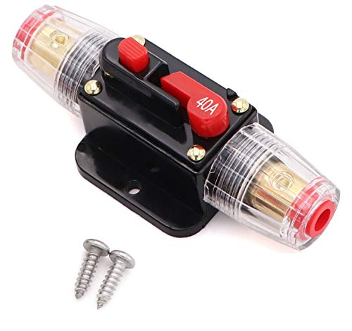40A Audio Inline Circuit Breaker Reset Fuse Holder 12V-24V DC with Manual Reset and Installation Screws for Car Audio, Stereo Switch and Solar Inverter System