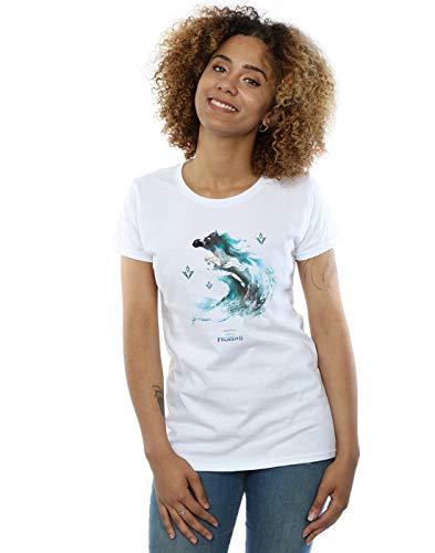 Disney Mujer Frozen 2 Elsa with Nokk The Water Spirit Camiseta Blanco Large