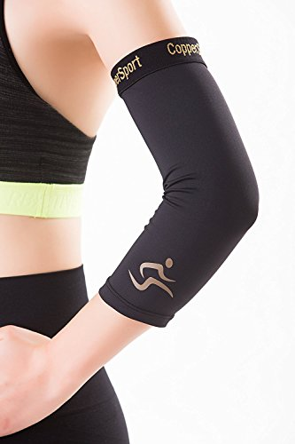 CopperSport Copper Compression Elbow Sleeve Support - Suitable for Athletics, Tennis, Golf, Basketball, Sports, Weightlifting, Joint Pain Relief, Injury Recovery (Single Sleeve), Black, Medium
