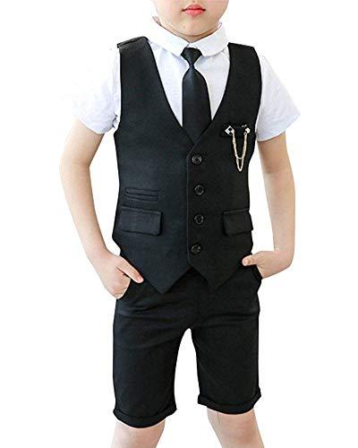Glaiidy Junge Kinder Kind Anzug Hochzeit 3 Stück Anzüge Weste Vacation Geschenke Kurzarm Hemd Kurze Hose Krawatte Kleidung (Color : Schwarz, Size : 130Cm)