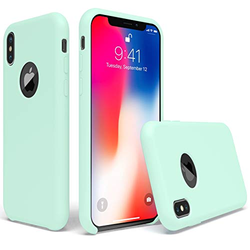 UGT iPhone X Case, Liquid Silicone Rubber Slim Shockproof Case Microfiber Cloth Lining Compatible with Apple iPhone X 5.8 inch, Mint