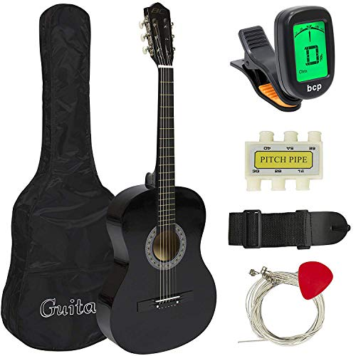Meda| 38in Beginner Acoustic Guitar Starter Kit w/ Case, Strap, Digital E-Tuner, Pick, Pitch Pipe, Strings