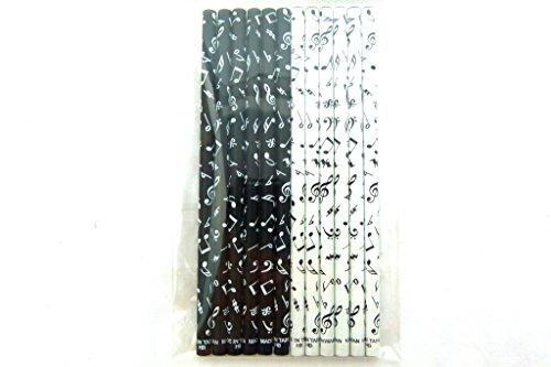 Verpakking met 12 stuks muziek thema's zwart-wit-muziek merk HB potloden (2 modellen)
