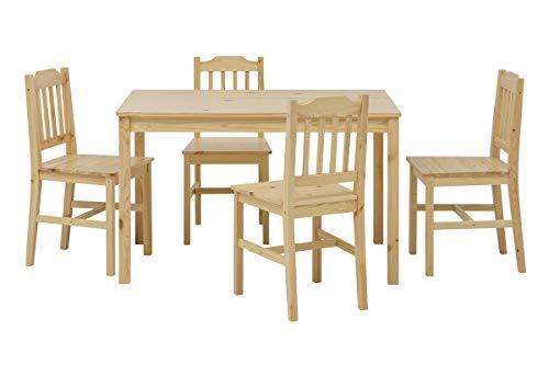 Essgruppe Kiefer massiv Natur lackiert 1 Tisch 4 Stühle