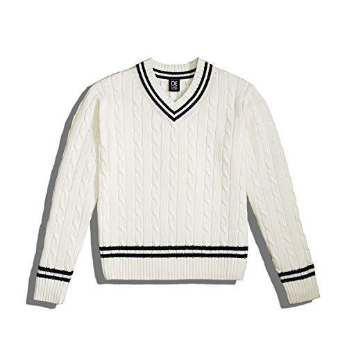 Delale Cricket Pullover 100% Pima Baumwolle, Weiß (L)