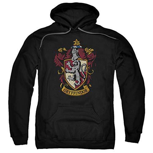 Harry Potter Gryffindor Logo Pull-Over Hoodie Sweatshirt & Stickers (X-Large)