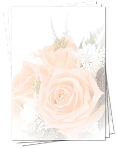 Motivpapier Briefpapier (Blumen-5165, DIN A4, 100 Blatt) - Bouquet aus wunderschönen lachsfarbenen Rosen, sehr schöner Blumenstrauß
