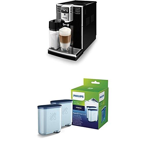 Philips 5000 Serie EP5360/10 Kaffeevollautomat (integrierte Milchkaraffe), mit Doppelpack AquaClean Wasserfilter