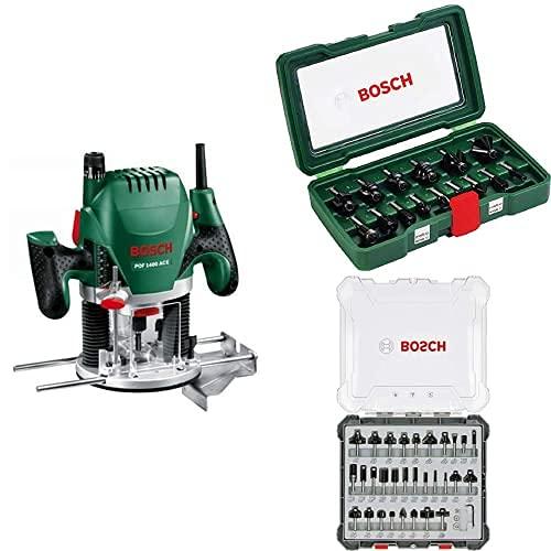 Bosch POF 1400 ACE - Fresadora de superficie (1.400 W, en maletín) + Set de 15 fresas de metal duro (para madera, vástago de 8 mm, accesorios para fresadora) + Juego de 30 fresas
