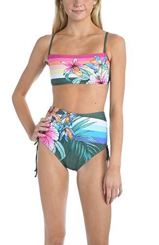 Hobie Women's Standard Long Line Bandeau Bikini Swimsuit Top, Olive//Tropic Sunset, S