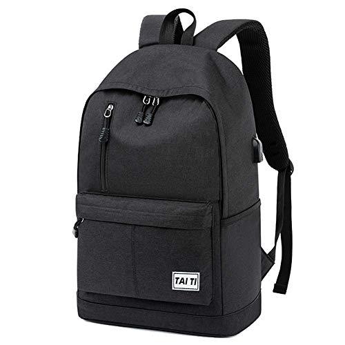 Middelbare school tassen, rugzakken jongens campus laptoptas reizen capaciteit cysten groot waterafstotend met USB-poort opladen 46 × 19 × CM,Black