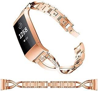YWSHF フィットビット チャージ3 交換 Fitbit Charge3 バンド 対応 金属時計ベルト おしゃれ 女性 ビジネス風 ステンレス 交換用 ウォッチ 時計バンド スポーツバンド 運動 ベルト