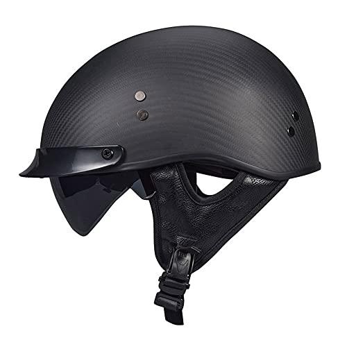 BBYBK Casco de fibra de carbono para motocicleta Cruiser DOT/ECE aprobado para adultos, para hombres y mujeres, Cruiser Scooter de media concha Crash, casco de crash, XL (59 ~ 60 cm)